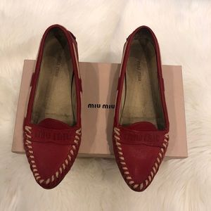 MIU MIU Pointed Leather Flat Loafers Size 40